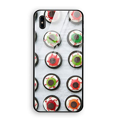 iPhone X Case Luxury Halloween Eyeball Dessert Tempered Glass Back Cover Soft TPU Bumper Frame 360 Degree Full Body Strong Protection -