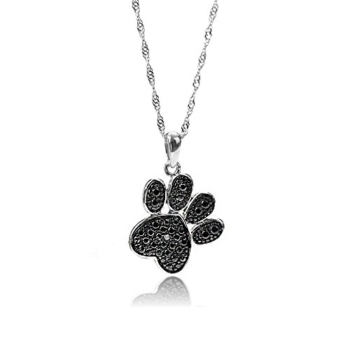 GemsChest 925 Sterling Silver Cute Dog Cat Paw Print Pendant Necklace Diamond Accent Black Plated Jewelry