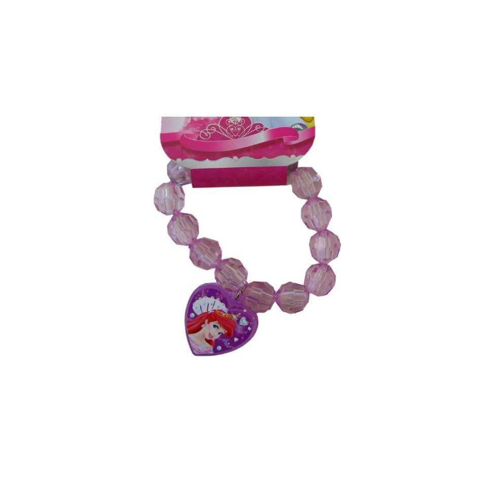 Disney Princess Ariel Crystal Heart Charm Bracelet   Ariel Bracelet   Pink