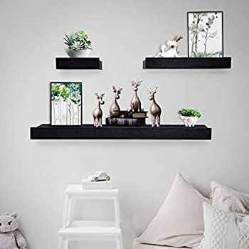 Coismo Set of 3 Multi length Floating Shelves, Black