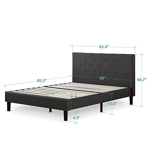 home, kitchen, furniture, bedroom furniture, beds, frames, bases,  beds 5 image Zinus Shalini Upholstered Diamond Stitched Platform Bed / Mattress deals