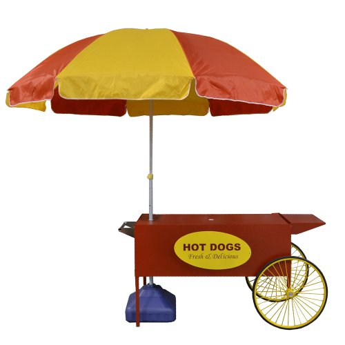 (Paragon Large Hot Dog Cart, Red)