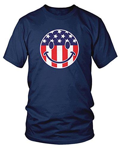 ag Smiley Face, American Flag Smile T-shirt, Navy Blue Large ()