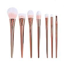 AwesomeMall 7 PCS Pro Makeup Brushes Cosmetics Set Soft Eyeshadow Eyebrow Brush Powder Foundation Blending Blush Face Brushes Tool Make Up Brushes Set (Pink)