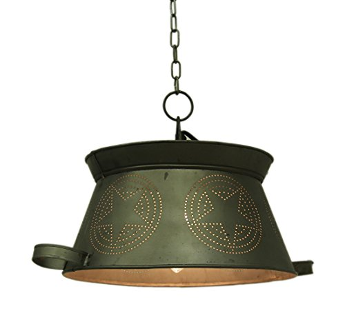 (Colander Punched Star Vintage Country Metal Hanging Pendant Lamp)