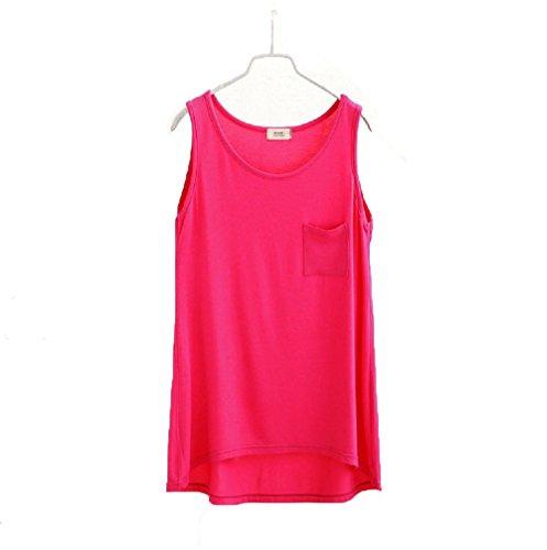 Wenseny Mujer BXG Algodón Casual Cuello Redondo Camiseta Sin Mangas Tank Top Rose