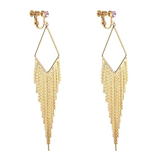 (Long Dangle Rhinestone Clip on Earrings Tassel Boho Bohemian Gold Tone Fringe Earring for Women Jewelry)