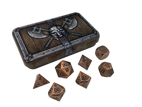 Skull Splitter Dice Antique Brass Color Metal Dice with Black Numbers | Solid Metal Polyhedral Role Playing Game (RPG) Dice Set (7 Die in Pack) with Awesome Dwarven Chest Dice Case (Metallic Dice)