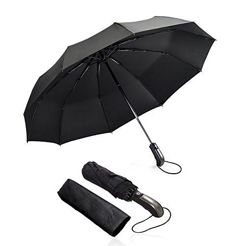 Umbrella mixigoo Umbrellas for Women Men 10 Ribs Large 2 3 Travel Umbrella Golf Umbrella Reverse Umbrella Glvancnv Umbrella Sturdy Folding Automatic Open Close Handle Compact Windproof Umbrella Black