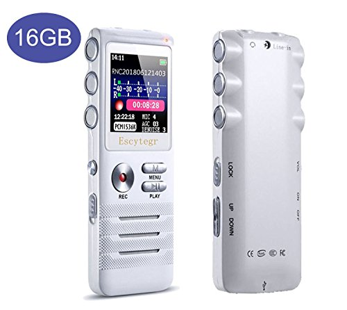 Escytegr Voice Activated Recorder Double Microphone Timed Recording 16GB Audio Voice Recorder MP3 Music Player 1536kbps Dictaphone for Lectures Meetings
