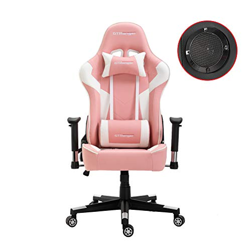 GTRanger Gaming Chair with Speakers Video Game Chair Racing Style Ergonomic Office Chair Adjustable Computer Desk Chair – Pink & White