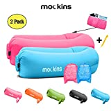 Mockins 2 Pack Blue Pink Inflatable Lounger Hangout Sofa Bed with Travel Bag Pouch The Portable Inflatable Couch Air Lounger is Perfect for Music Festivals and Camping Accessories Inflatable Hammock …