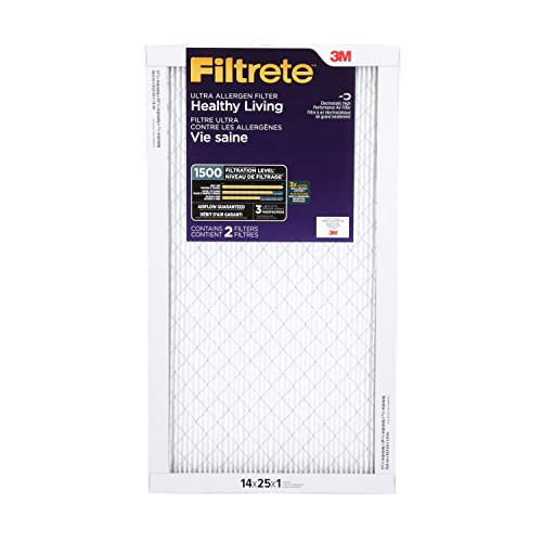 1 Two Pack - Filtrete Healthy Living Ultra Allergen Reduction HVAC Air Filter, Captures Fine Inhalable Particles, MPR 1500, 14 x 25 x 1, 2-Pack