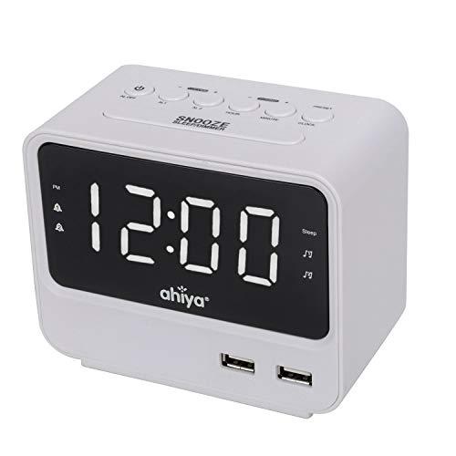 ahiya Digital Alarm Clock Radio FM Big LED Number Screen Adj