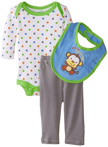 BON BEBE Baby-Boys Newborn Going Bananas 3 Piece Pant Set with Bib and Bodysuit, Multi, 3-6 Months