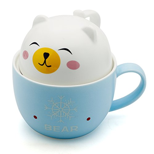 Teagas Cute Funny Ceramic White Bear Coffee Mug Cup,Gift for Cousins Sisters Children