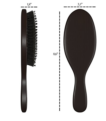 Boar Bristle Hair Brush Added Nylon Pins For Best Detangling And Scalp Stimulation Natural Bristles From Boars Organic Wood For Men Woman And Kids With Curly Long Short Thick And Thin Hairs