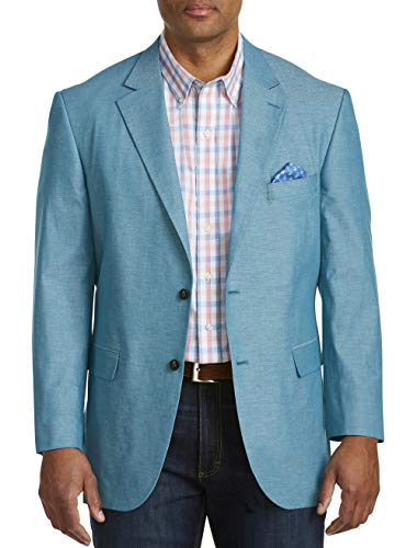 Oak Hill by DXL Big and Tall Jacket-Relaxer Chambray Textured Sport Coat, Teal, 4XL