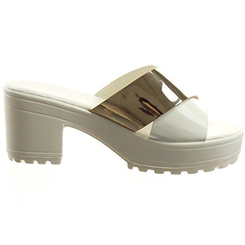 Sopily Damen Mode Schuhe Sandalen Offen Plateauschuhe Glänzende - Weiß