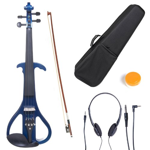 Cecilio 4/4 CEVN-4BL Solid Wood Electric/Silent Violin with Ebony Fittings in Style 4 - Full Size - Blue Metallic by Cecilio