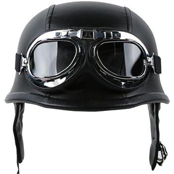 TCMT Dot Adult German Style Black Leather Half Helmet Motorcycle Chopper Cruiser Biker Helmet+Goggles M