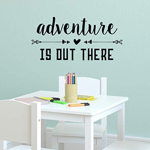 Adventure is Out There Wall Decal, Inspirational Travel Quotes, Arrow Vinyl Sticker, 23