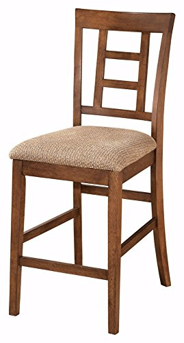Ashley Furniture Signature Design   Cross Island Upholstered Barstool   Vintage Casual   Set Of 2   Medium Brown Oak Stain