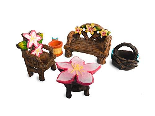 Fairy Garden Accessories, Fairy Garden Seating Collection, 5 piece miniature furniture set (5) - Miniature Collection 5 Piece