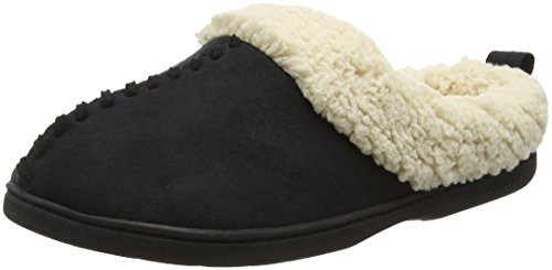 With Clog Black Microsuede Femme 00001 Chaussons black And Dearfoams Foam Memory Whipstitch 6A1Ewq