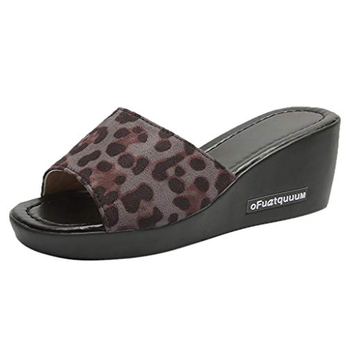 New in Respctful✿Women's Fashion Low Platform Wedge Leopard Printed Slides Sandals Casual Outdoor Slippers for Women