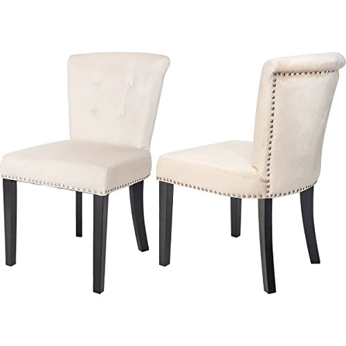 Harper&Bright Designs set of 2 Stylish Tufted Upholstered Velvet Dining Chairs (Champagne) (Dining Upholstered Velvet Chairs)