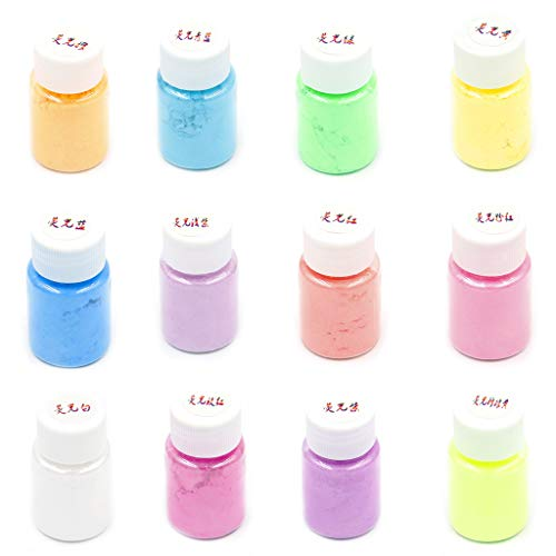 12Pcs 12 Color Mica Powder for Epoxy Resin Dye Soap Making, Bath Bombs, Polymer Clay, Tumblers, Makeup Pearlescent Powder Mica Pigment Powder Jewelry Making (And Between Resin Polymer Difference)