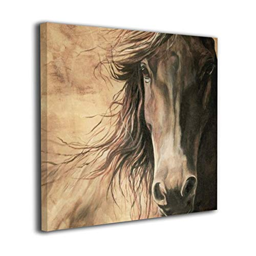 Fu Qi Rui Shang Mao Canvas Wall Art Prints Friesian Horse Picture Paintings Contemporary Home Decoration Giclee Artwork Wood Frame Gallery Stretched - Friesian Horse Art