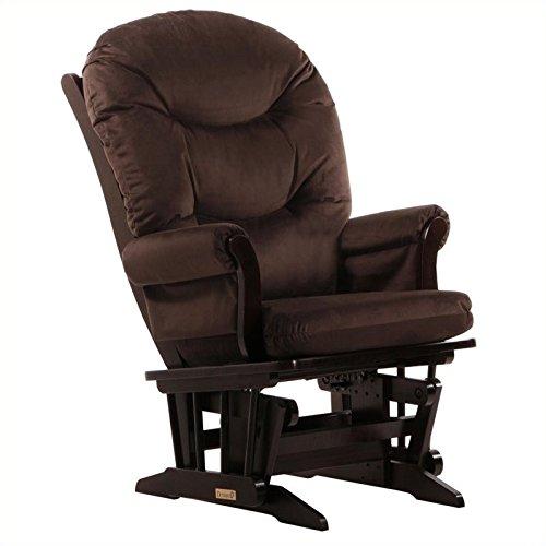 Dutailier Round Back Cushion Sleigh Glider, Brown Microfiber