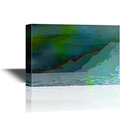 Abstract Landscape with Mountains under Blue and Green Sky