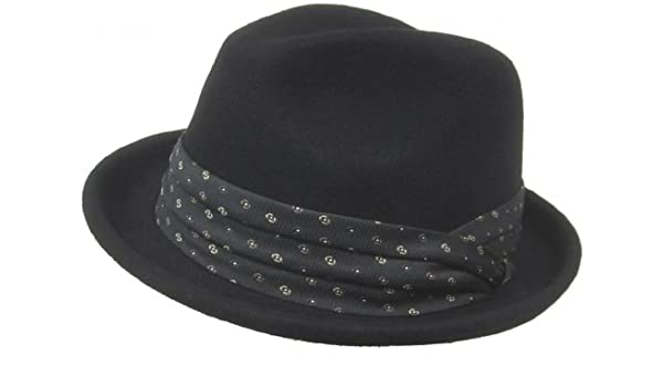 Christys Crown Grant Wool Felt Fedora Pleated Tie Hat Band