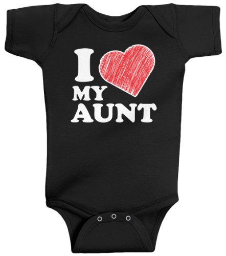 (Threadrock Unisex Baby I Love My Aunt Bodysuit 6M Black)