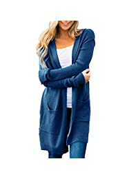TOPUNDER Loose Fit Long Sleeve Knitted Hooded Cardigan Coat Tops Women