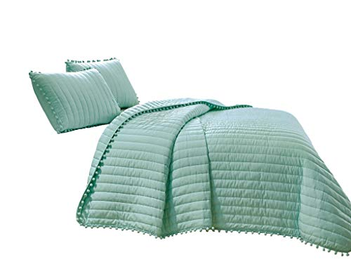 Chezmoi Collection Iris 3-Piece Aqua Pom Poms Fringe Channel Quilted Pre-Washed Bedspread Set, Queen Size (Aqua Quilts)