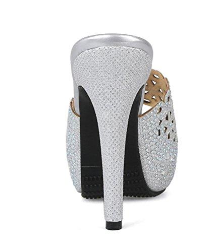 YE Damen Peep Toe Pantoffeln High Heels Plateau Sandalen Outdoor Slipper mit Strass Glitzer Slingback Sommer Schuhe Silber
