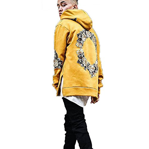 JannyBally Men Floral Embroidered Hip Hop Long Sleeve Fashion Pullover Hoodies Fleece Sweatshirt (Yellow, (Yellow Embroidered Sweatshirt)