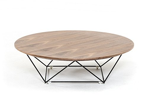 Modrest Spoke Modern Walnut Wood Coffee Table Round By VIG