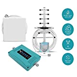 5 Band Cell Phone Signal Booster for Home and Office - Enhance Cellphone Voice 3G 4G LTE Data - Dual 700/850/1700/1900MHz Antenna Amplifier Kit Supports 5,000 Square Foot Area