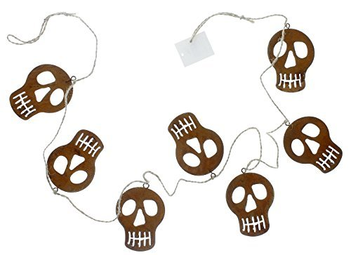 Metal Rust Finished Skeleton Garland - Halloween Decor - Strung with Durable Twine -