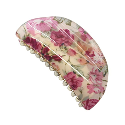 Semicircle print flowers pattern hair claws 3.5'' acrylic hair clips hair accessories for women
