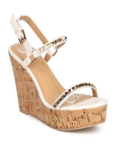 Slingback Cork Wedge Sandal (Liliana DI23 Women Leatherette Open Toe Pyramid Studded Slingback Cork Wedge Sandal - White (Size: 8.0))