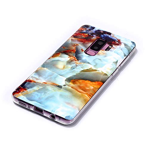 for Samsung Galaxy S9 Plus Marble Case with Screen Protector,Unique Pattern Design Skin Ultra Thin Slim Fit Soft Gel Silicone Case,QFFUN Shockproof Anti-Scratch Protective Back Cover - Fire Cloud by QFFUN (Image #2)
