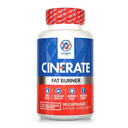Vaxxen Labs Cinerate Fat Burner with TeaCrine - Safe Appetite Suppressant Pills for Women and Men - 90 Capsules by Vaxxen Labs