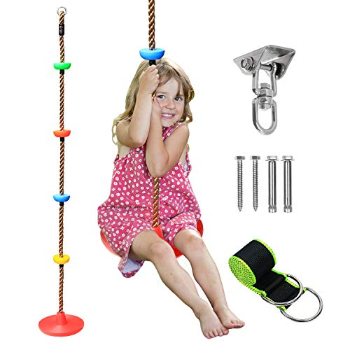 Climbing Rope Tree Swing with Platforms and Disc Swing Set Playground Accessories for Backyard Outdoor Swing for Kids Including 4 ft Swing Hanging Strap and Glowing Stars in The Dark