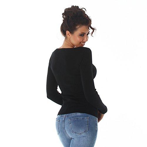 Rundhals Schwarz Voyelles Sweatshirt Sweater Damen Pulli